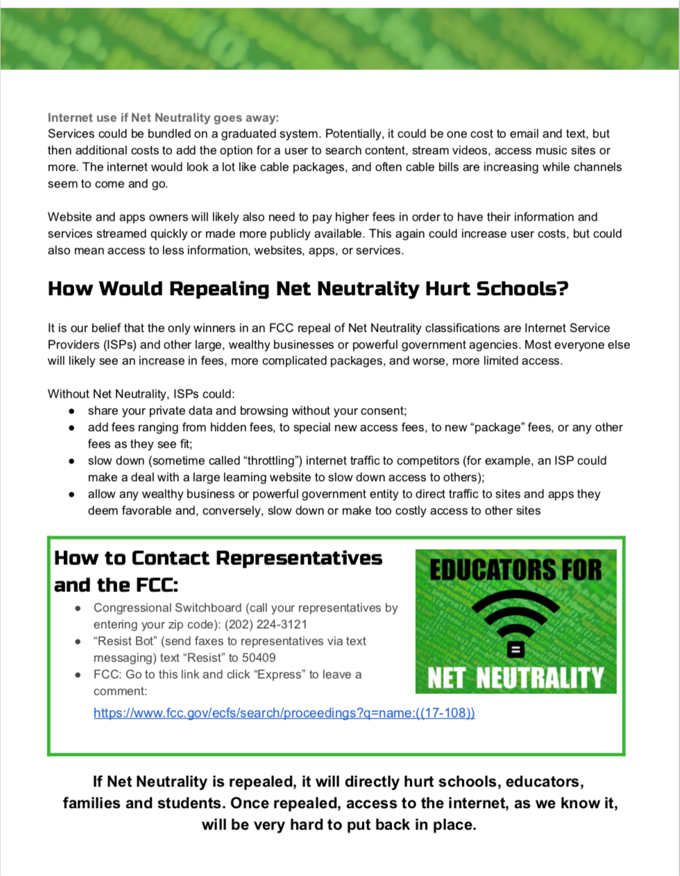 Net Neutrality Position Statement: Save the Internet - Blog